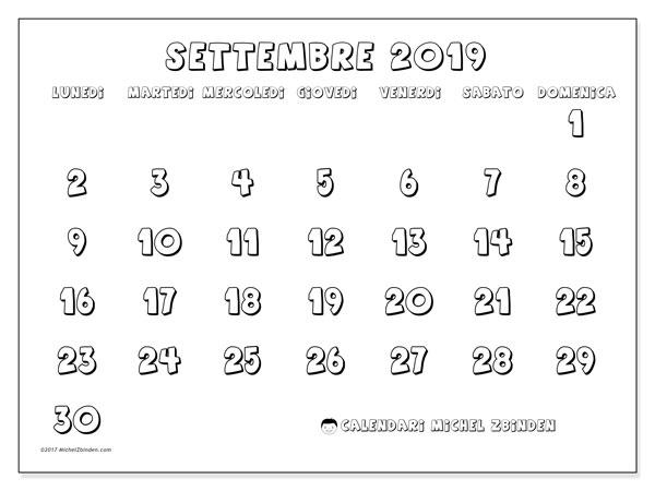 Calendario settembre 2019 (56LD). Calendario per la stampa gratis.