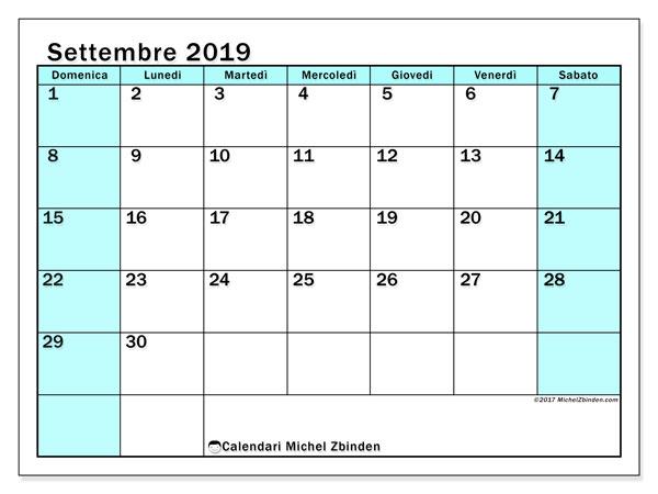 Calendario settembre 2019, 59DS. Calendario per la stampa gratis.