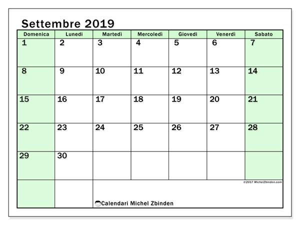 Calendario settembre 2019, 60DS. Calendario per la stampa gratis.