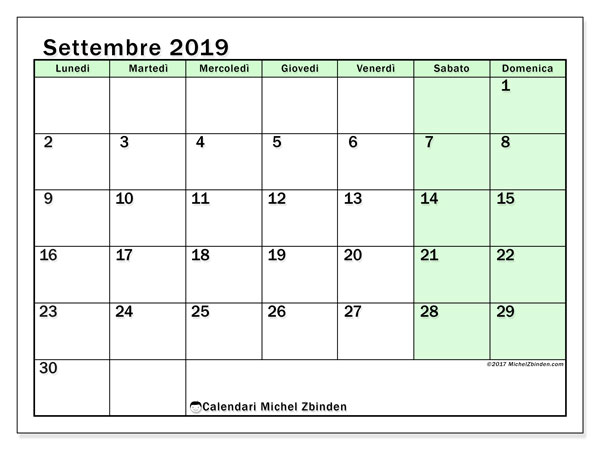 Calendario settembre 2019, 60LD. Calendario gratuito da stampare.