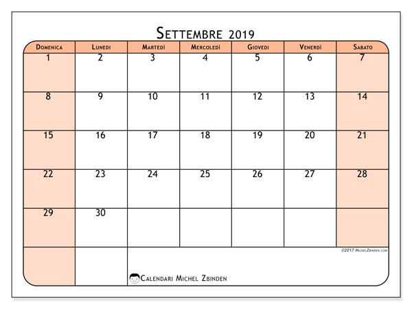 Calendario settembre 2019, 61DS. Orario da stampare gratis.