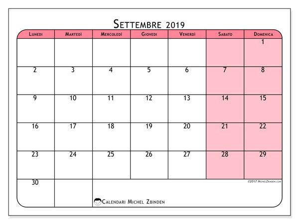 Calendario settembre 2019, 64LD. Orario da stampare gratis.