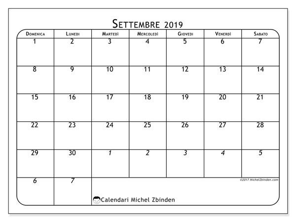 Calendario settembre 2019, 67DS. Calendario gratuito da stampare.
