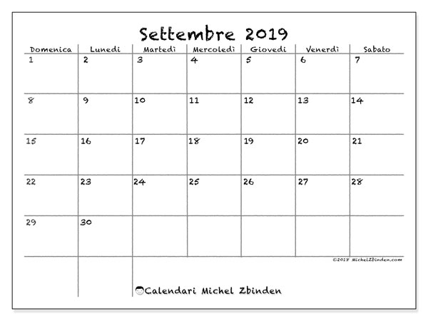 Calendario settembre 2019, 77DS. Calendario gratuito da stampare.
