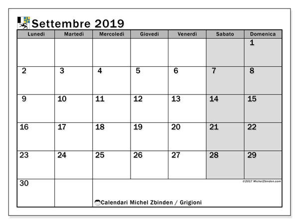 Calendari settembre 2019, con giorini festivi del Cantone dei Grigioni. Calendario per la stampa gratis.