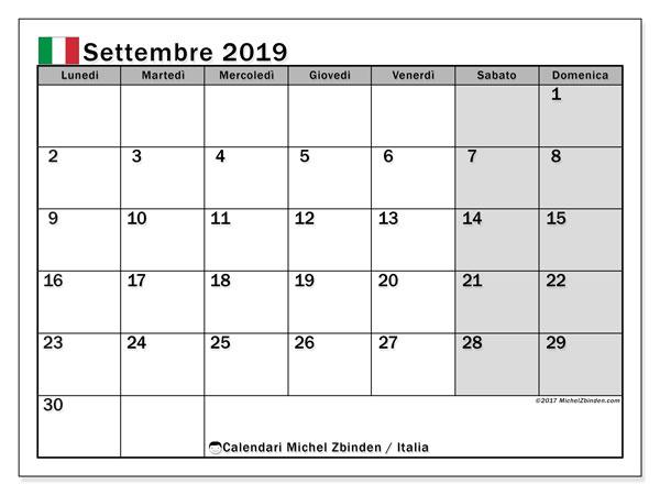 Calendario settembre 2019, con giorni festivi in Italia. Calendario Vacanze e festività per stampare gratuitamente.