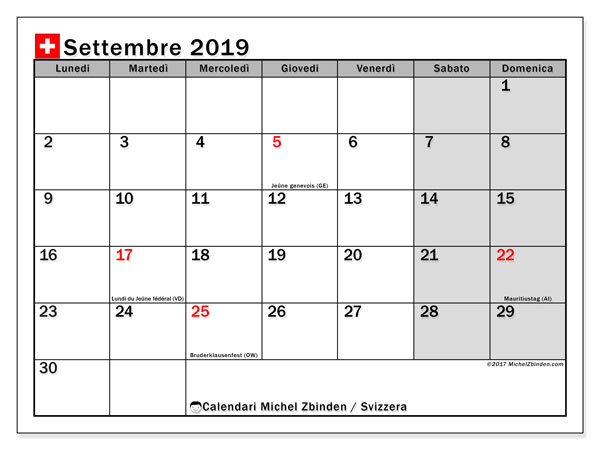 Calendari settembre 2019, con giorini festivi della Svizzera. Calendario per la stampa gratis.