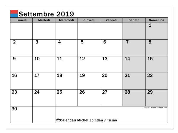 Calendari settembre 2019, con giorini festivi in Ticino. Calendario gratuito da stampare.