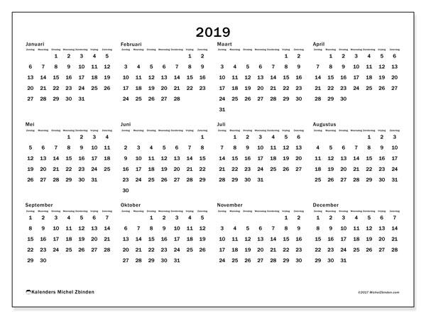 Kalender 2019, 32ZZ. Gratis afdrukbare kalender.