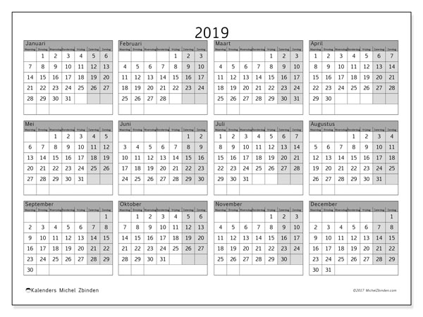 Kalender 2019, 35MZ. Gratis printbare kalender.