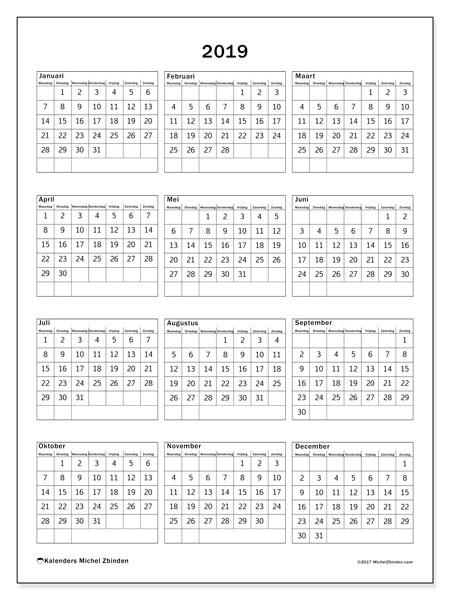 Kalender 2019, 36MZ. Kalender voor het jaar gratis afdrukken.