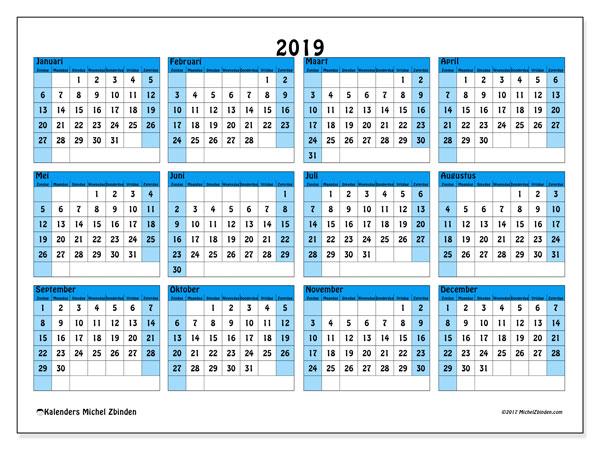 Kalender 2019, 39ZZ. Kalender voor het jaar gratis afdrukken.