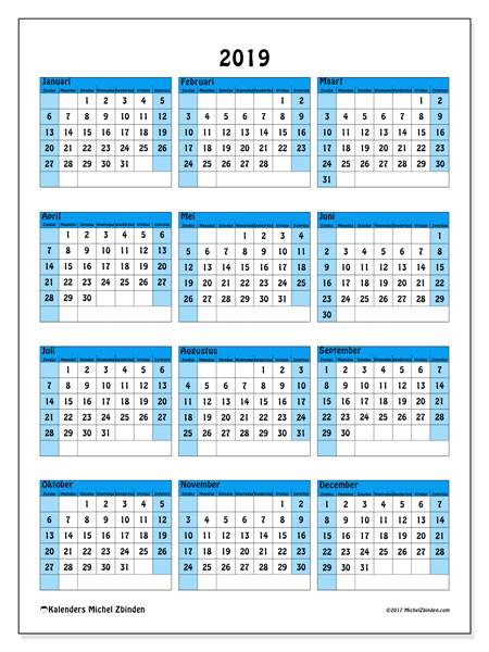 Kalender 2019 - 40ZZ. Kalender om af te drukken: jaarlijkse schema.