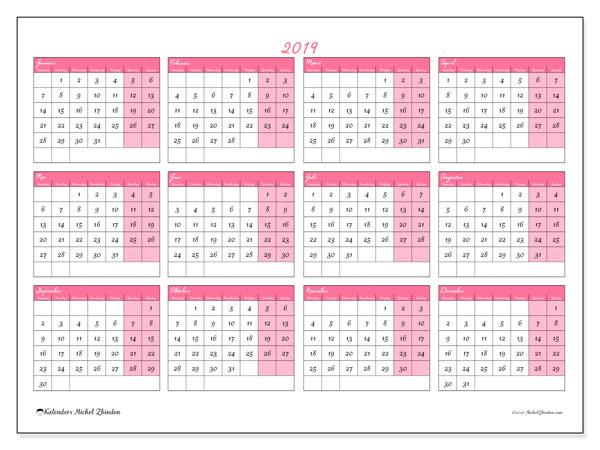Kalender 2019, 41MZ. Gratis kalender om af te drukken.