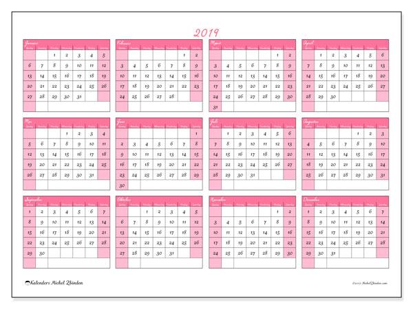 Kalender 2019 (41ZZ). Kalender om gratis te printen.