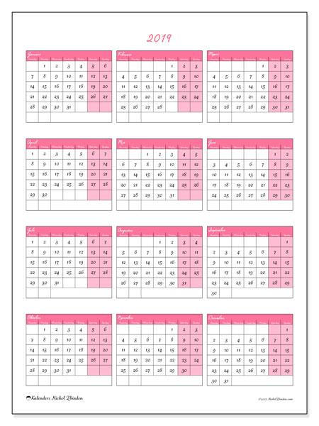 Kalender 2019, 42MZ. Gratis afdrukbare kalender.