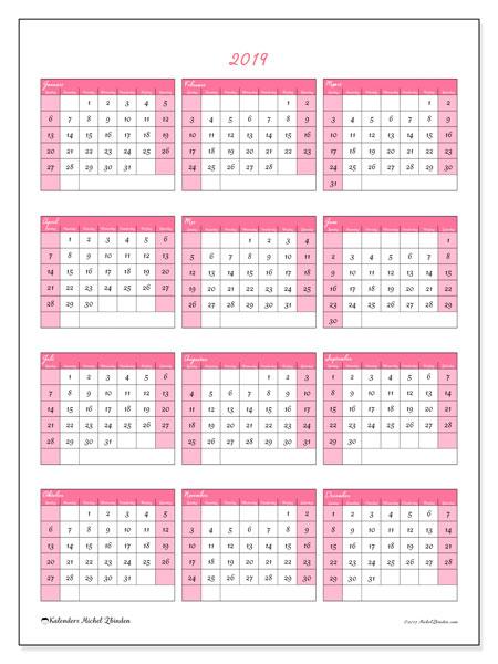 Kalender 2019, 42ZZ. Kalender voor het jaar gratis afdrukken.