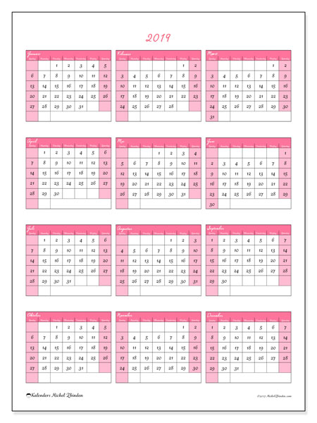 Kalender 2019 (42ZZ). Kalender om gratis te printen.