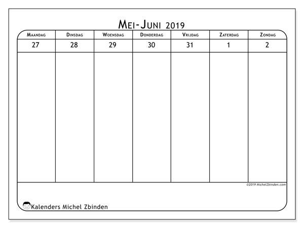 Kalender 2019, 43-22MZ. Kalender om gratis af te drukken.