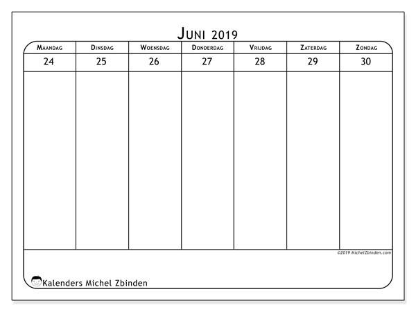 Kalender 2019, 43-26MZ. Kalender voor de week om gratis te printen.