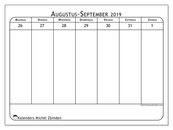 Kalender 2019, 43-35MZ. Schema om gratis te printen.