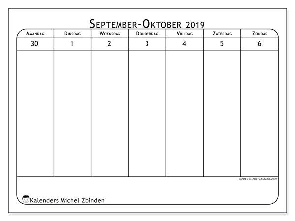 Kalender 2019, 43-40MZ. Wekelijkse kalender om gratis te printen.