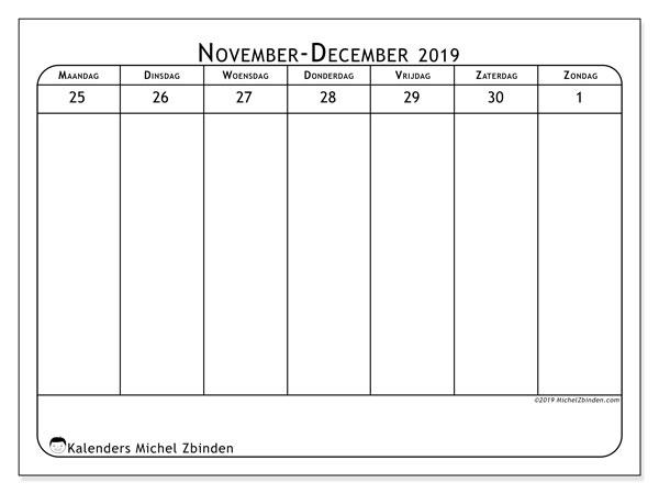 Kalender 2019, 43-48MZ. Kalender om gratis af te drukken.