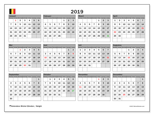 Kalender 2019 met de feestdagen van België. Kalender om gratis af te drukken.