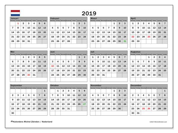 Kalender 2019 met de feestdagen van Nederland. Kalender voor de maand die gratis moet worden afgedrukt.