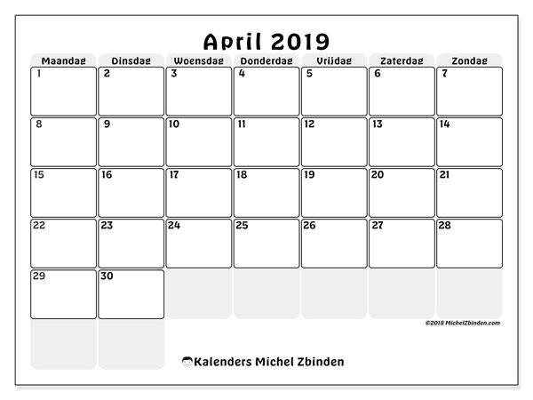 Kalender  april 2019, 44MZ