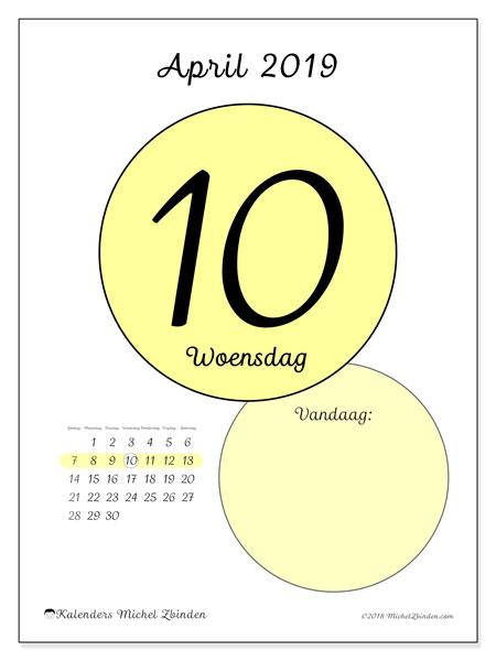 Kalender april 2019, 45-10ZZ. Kalender voor de dag om gratis te printen.