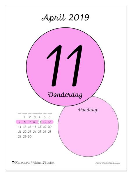 Kalender april 2019, 45-11ZZ. Dagelijkse kalender om gratis te printen.