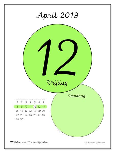 Kalender april 2019, 45-12MZ. Kalender voor de dag om gratis te printen.