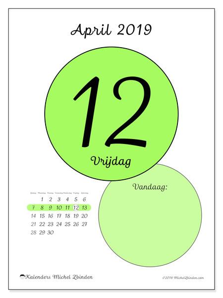 Kalender april 2019, 45-12ZZ. Kalender voor de dag om gratis te printen.