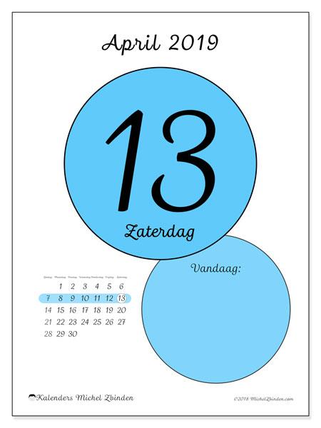 Kalender april 2019, 45-13ZZ. Dagelijkse kalender om gratis te printen.
