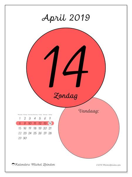 Kalender april 2019, 45-14MZ. Kalender voor de dag om gratis te printen.
