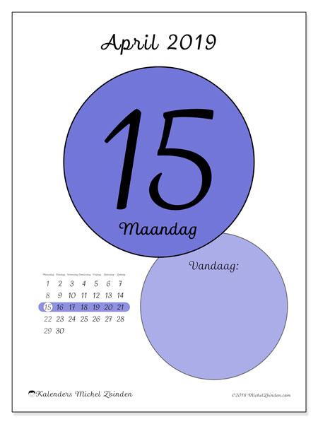 Kalender april 2019, 45-15MZ. Dagelijkse kalender om gratis te printen.