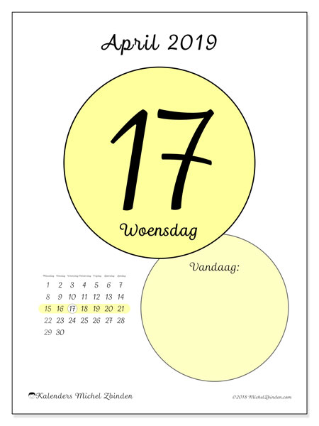 Kalender april 2019, 45-17MZ. Kalender voor de dag om gratis te printen.