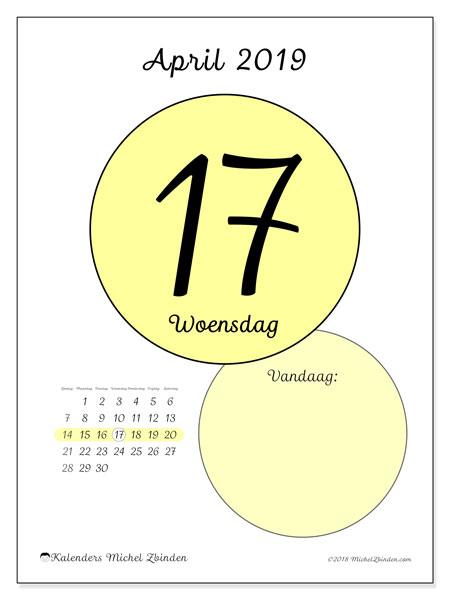 Kalender april 2019, 45-17ZZ. Dagelijkse kalender om gratis te printen.