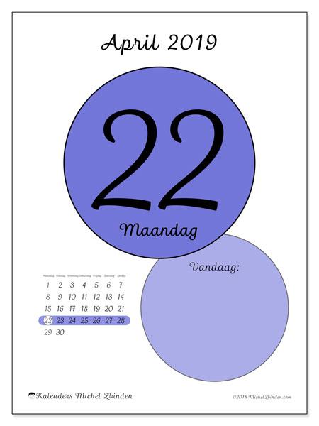 Kalender april 2019, 45-22MZ. Dagelijkse kalender om gratis te printen.