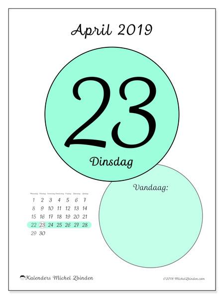 Kalender april 2019, 45-23MZ. Kalender voor de dag om gratis te printen.