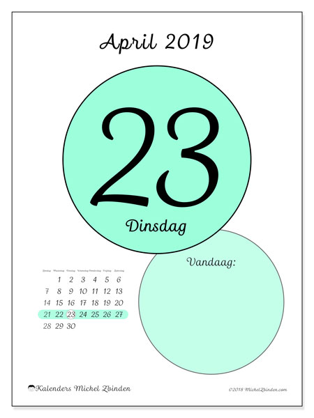 Kalender april 2019, 45-23ZZ. Dagelijkse kalender om gratis te printen.