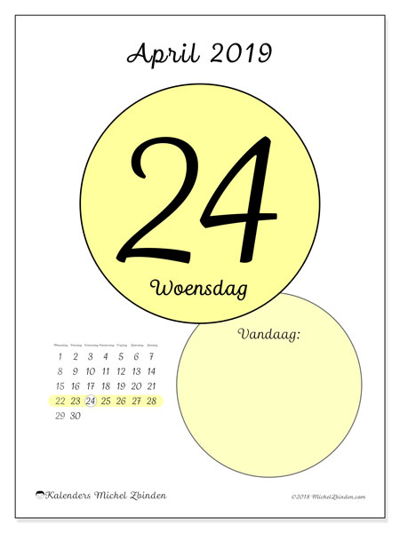 Kalender april 2019, 45-24MZ. Kalender voor de dag om gratis te printen.