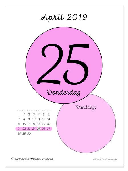 Kalender april 2019, 45-25ZZ. Kalender voor de dag om gratis te printen.