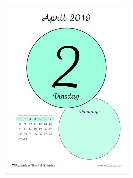 Kalender april 2019 (45-2MZ). Kalender voor de dag om gratis te printen.