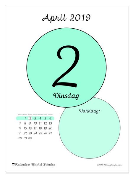 Kalender april 2019, 45-2ZZ. Kalender voor de dag om gratis te printen.