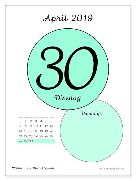 Kalender april 2019, 45-30ZZ. Dagelijkse kalender om gratis te printen.