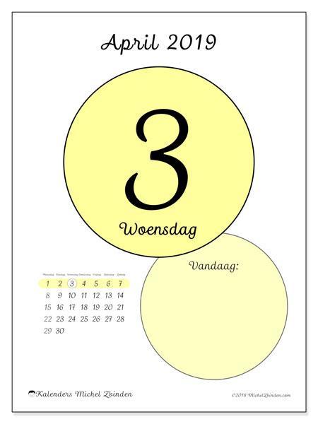 Kalender april 2019, 45-3MZ. Kalender voor de dag om gratis te printen.