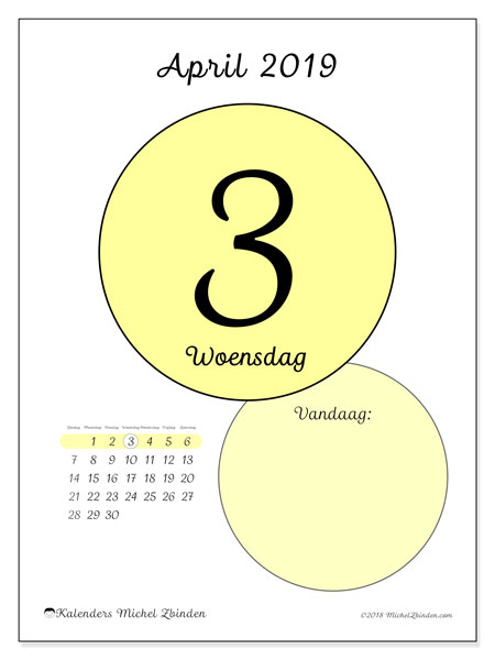 Kalender april 2019, 45-3ZZ. Dagelijkse kalender om gratis te printen.