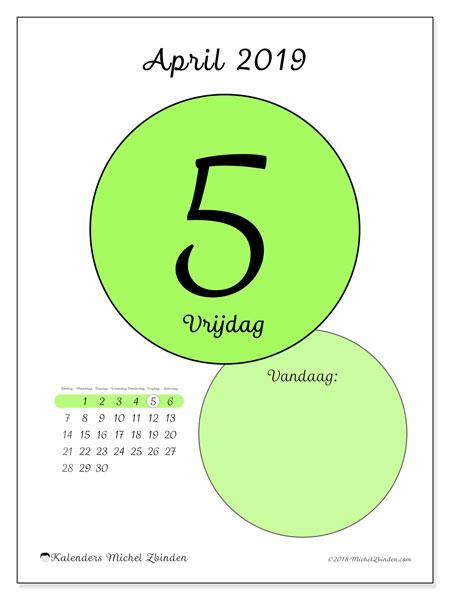 Kalender april 2019, 45-5ZZ. Kalender voor de dag om gratis te printen.